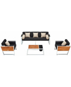 Higold York outdoor lounge set white aluminium and teak
