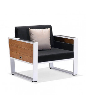 outdoor armchair white aluminium teak and black olefin fabric Higold York