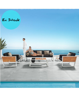 Outdoor lounge set Del Mar white aluminium and teak luxury